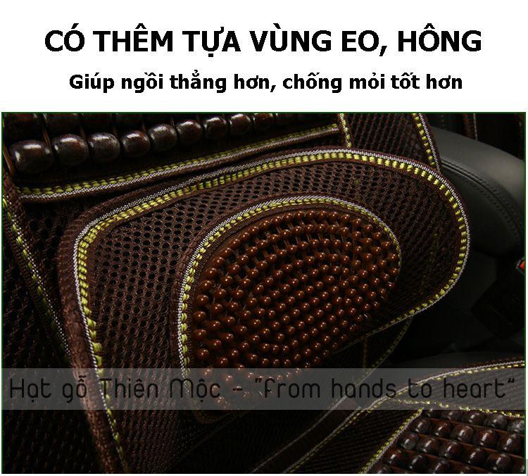 Đệm ghế hạt gỗ có phần tựa eo hông