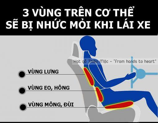Đệm lót ghế hạt gỗ giúp giảm đau mỏi khi lái xe