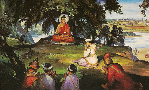 Đức Phật tặng nhà Vua chuỗi hạt gỗ
