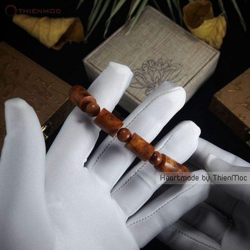 Vòng gỗ Huyết Long nu đốt trúc