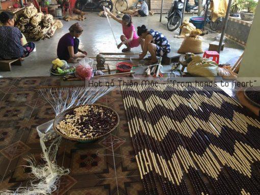 Rèm hạt gỗ họa tiết lượng sóng