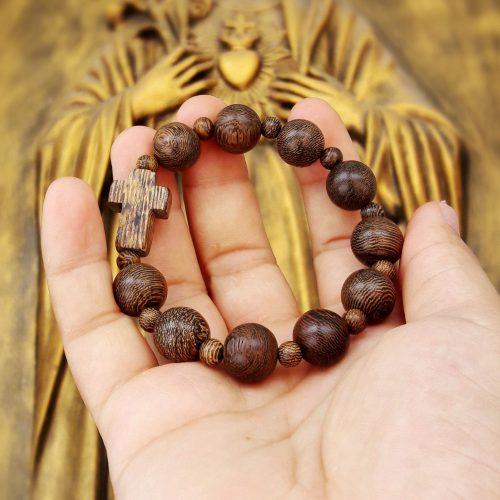 Chuỗi hạt Mân Côi gỗ Mun Hổ