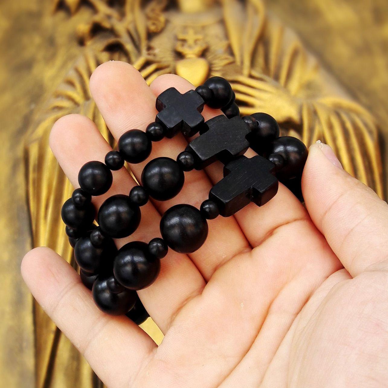 Vòng tay Mân Côi gỗ Mun Sừng tự nhiên